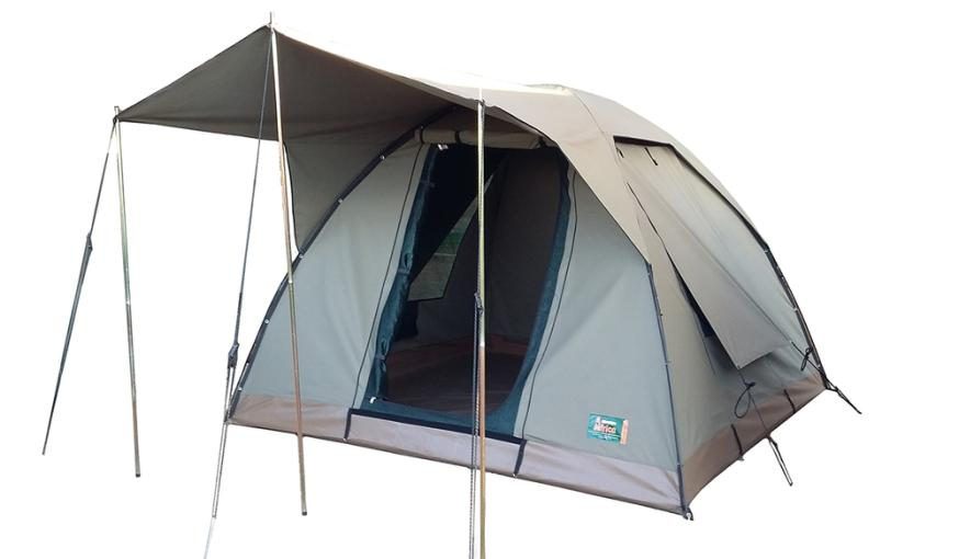 Canvas dome tent 320gr with full fly sheet adventure for Canvas tent fly