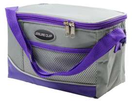 6 Can Soft Cooler Bag - Grey/Purple