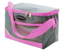6 Can Soft Cooler Bag - Grey/Pink