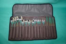 16pc cutlery set in roll up bag.
