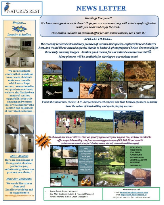 NATURES REST NEWSLETTER WINTER 2014