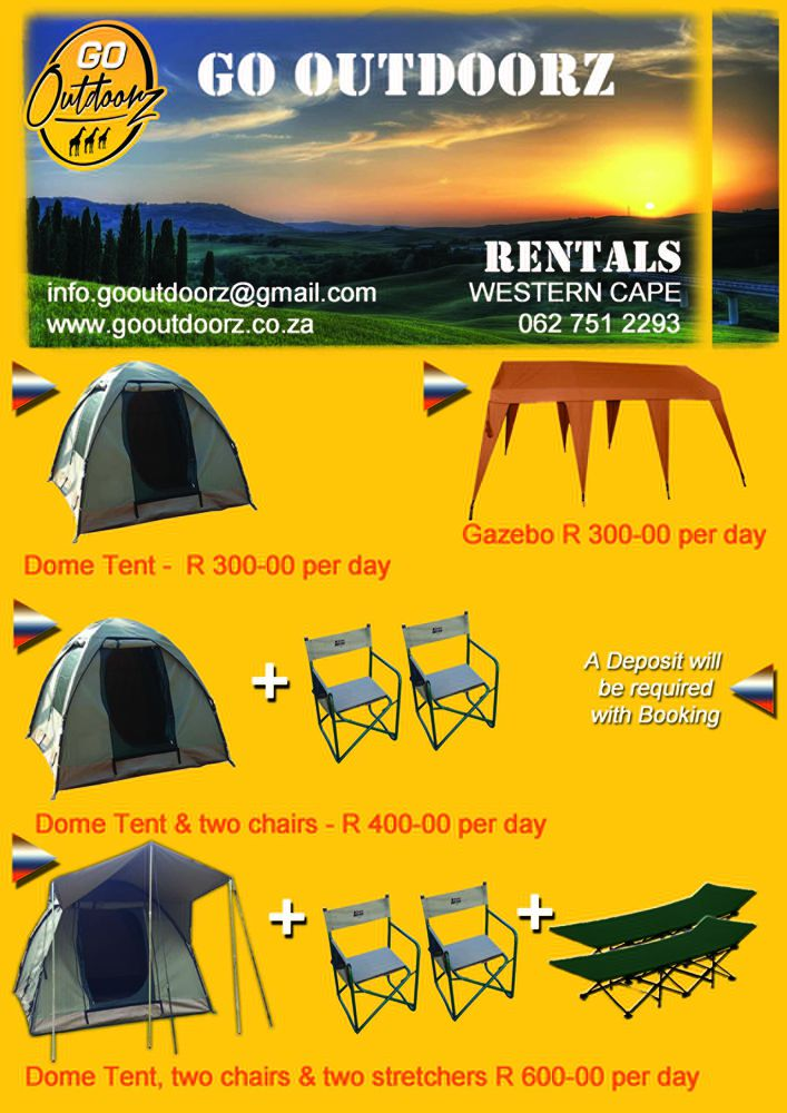 Camping Equipment Rentals Western Cape