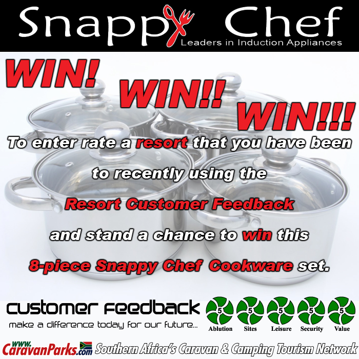 To enter rate a resort that you have been to recently using the Resort Customer Feedback and stand a chance to win this 8-piece Snappy Chef Cookware set.